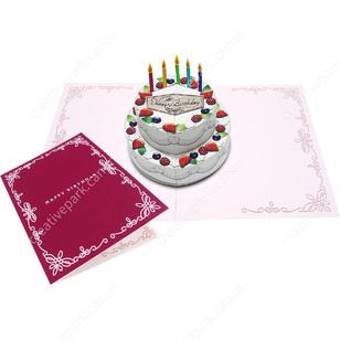 Tarjeta desplegable imprimible y armable de una tarta. Manualidades a Raudales.
