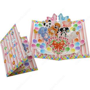 Tarjeta desplegable imprimible y armable de Felicidades por el bebé. Manualidades a Raudales.