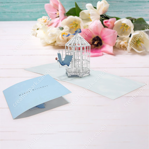 Tarjeta desplegable imprimible y armable de una jaula de pájaro. Manualidades a Raudales.