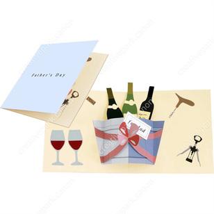 Tarjeta desplegable imprimible y armable de botellas de vino. Manualidades a Raudales.