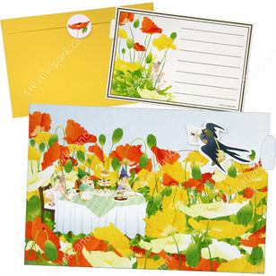 Tarjeta desplegable imprimible y armable de golondrina en primavera. Manualidades a Raudales.