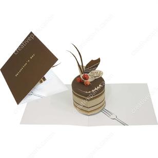 Papercraft imprimible y armable de una Tarjeta pop-up tarta San Valentín. Manualidades a Raudales.