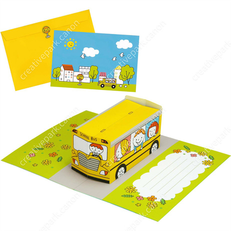Pop-up Card (School Bus),Craft Cards,Card,Starting school,school,bus,vehicle,automobile,friend,child