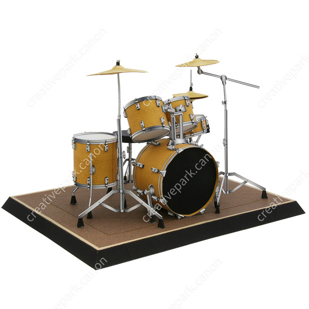 Drum Set Musical Instruments Decorative Paper Craft Canon