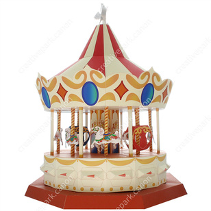 Carousel,Toys,Paper Craft,white,angel,horse,amusement park,carriage,pegasus,Moving