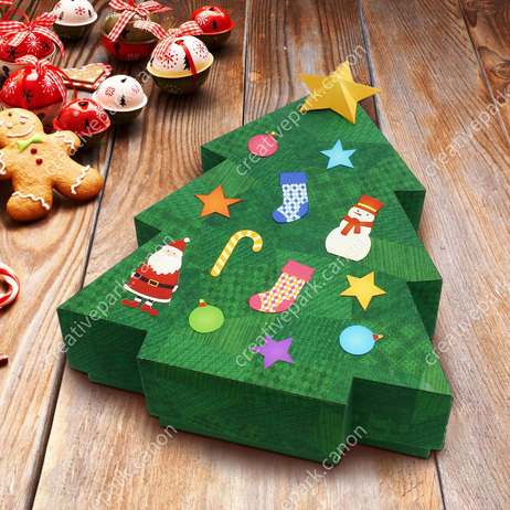 Christmas: Tree Box,Home and Living,Paper Craft,Christmas,bell,socks,ornament,checkered,box,snowman,socks,decoration,decoration,Santa Claus,fir tree,ribbon,reindeer,tree,Santa Claus,tree