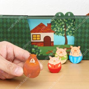 Les Trois Petits Cochons,Jouets,Créations en papier,Loup,Conte pour enfants,Livre d'images,porc,Boîte Livre d'Images