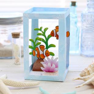 Paper Aquarium: Clownfish,Animals,Paper Craft,Waterweed,seagrass,coral,fish,sea,Clown fish,Aquarium