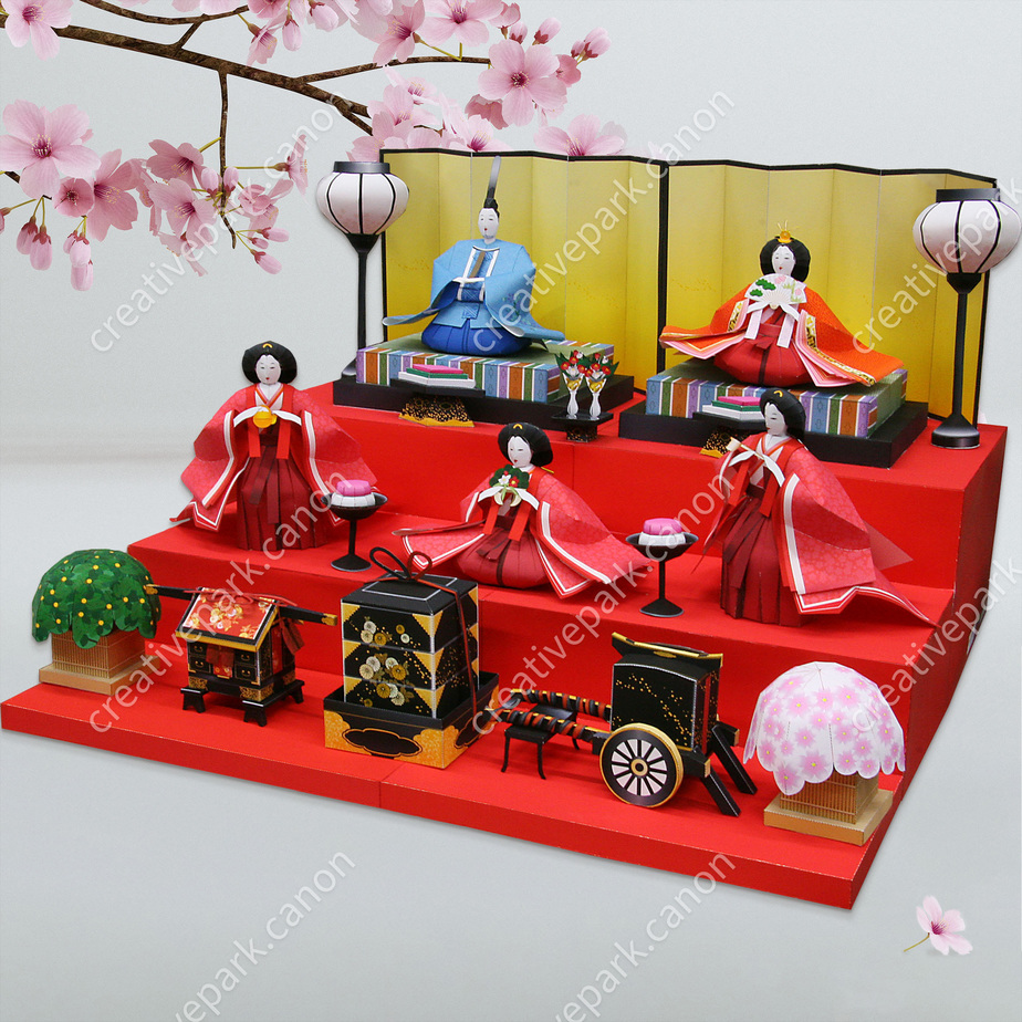 Хинаказари (украшение с куклами),Игрушки,Поделки из бумаги,Азия и Океания,кукла,амулет на счастье,девочка,сезонный фестиваль,Кукла хина