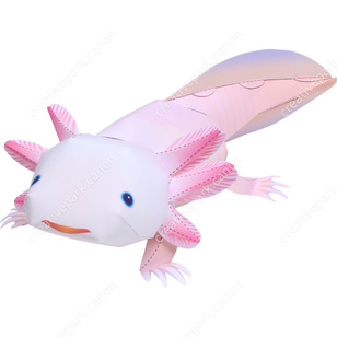 Wonderful Axolotl,Animals,Paper Craft,Animals,Paper Craft,Pet Series,Amphibians