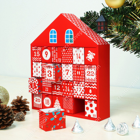 Advent Calendar (Christmas House),Advent calendars,Calendars,Christmas,red,house,calendar,Christmas color,Santa Claus