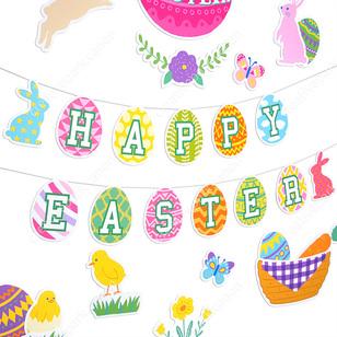 Banners : Páscoa 01,Grinaldas,Casa e bem-estar,Páscoa,grinalda,Interior ,Papel craft,fácil,fácil,pop ,festa,decoração,coelho,Ovo