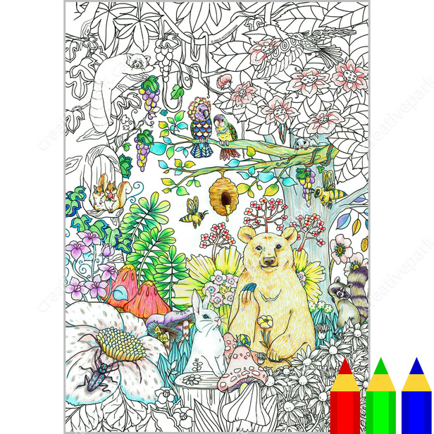 Coloring Page Botanicals Woodland Animals Coloring Art Canon Creative Park