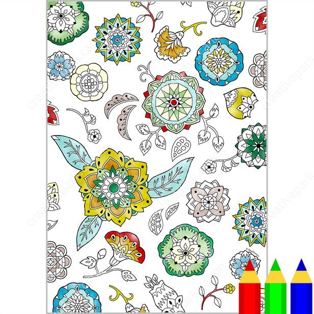 Página para colorear : Patrones/Abstracto (Mandala floral 02 ...