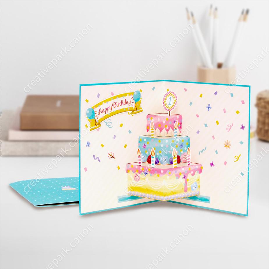 Pop-up Card (Cake 02),Pop-up Cards,Card,Birthday,Birthday,Happy Birthday,cake,Birthday Cake,sky blue,Pop-up