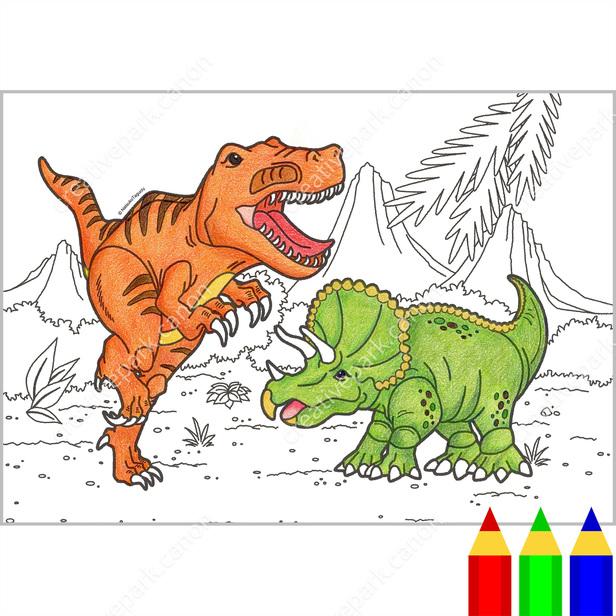 ぬりえ:科学 (恐竜),ぬりえ,アート,塗り絵,恐竜,トリケラトプス