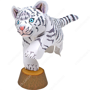 white tiger pet series animals paper craft canon creative park