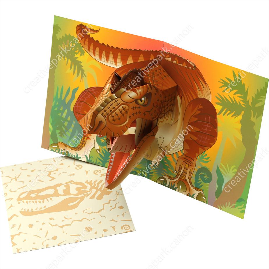Объемная открытка (Тираннозавр),Объемные открытки,Карточка,динозавр,Раскладушка ,природа,Животные,наука,многоцелевой,играть,Земля,Механизм,лес